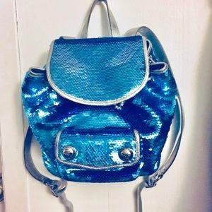 Coach poppy backpack bling blue designer sequin